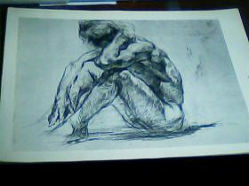 8开素描单页  男人体金山石画