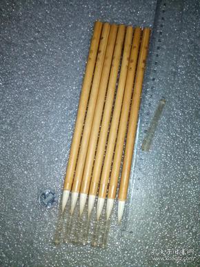 日本老毛笔(书画用笔),《中,彩色》7支。未使用,锋颖完整。(这种着色笔属高端货,纯毛料,吸墨性极好,弹性足。完全可以书画两用。
