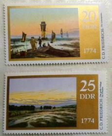 德國畫家佛里德里希繪畫作品:風景繪畫郵票2枚  金粉印刷精美1974年【外國郵票】 集郵收藏品