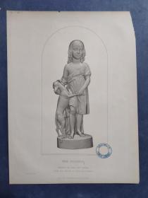 1848年 钢版画 手工雕刻 版画 《THE FRIENDS》