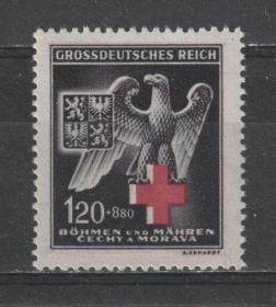 德国邮票 1943年  德占波西米亚和摩拉维亚 红十字 1全新