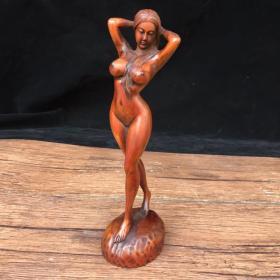 黄杨木精雕美女人体艺术摆件一个,高18厘米,宽6厘米,特价出'