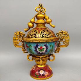 景泰蓝掐丝珐琅彩葫芦熏香炉摆件尺寸如图,重2500克
