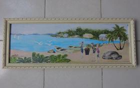 手绘油画《椰海黎景》【保真】