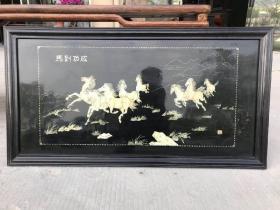 创汇时期,螺钿镶嵌挂画五彩螺钿镶嵌,金漆描彩,《马到成功》八骏图,保存十分完整尺寸:长130高70厘米