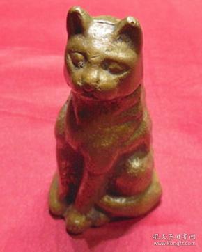旧黄铜器站立小猫家养宠物动物空心摆设品真品铜制品旧货物件摆件