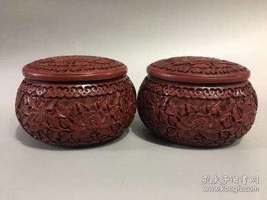 漆器雕刻花开富贵纹围棋罐