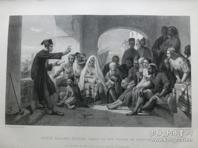 【现货 包邮】1863年钢版画《菲利斯·巴拉林在向基奥贾的民众诵读塔索的诗》(pelice ballarin reciting tasso to the people of chioggia) 纸张尺寸32.3×23.6厘米(货号201341)