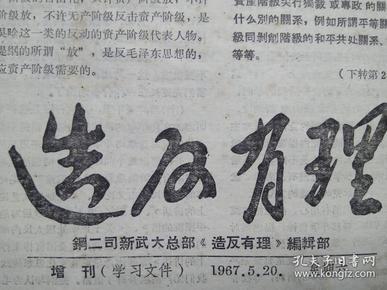 湖北文革小报 造反有理增刊(学习文件)