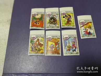 外国邮票 安圭拉1983年 迪士尼人物过圣诞节 迪斯尼卡通邮票 7全(无邮戳新票)