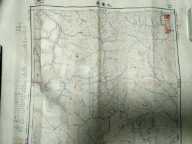 """侵华罪证,日本昭和七年制版""""扎赉特""""地图,有日本军官学校印章"""