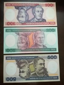 巴西5枚张(100-5000克鲁塞罗)纸币大全套