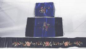 民国老刺绣缎饰片【一对抱枕】,老刺绣缎围子饰片,老刺绣绸床幔饰品