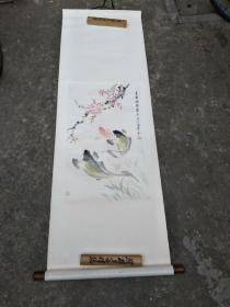 潘觐缋绘画――桃花锦鲤