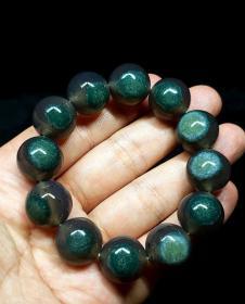 純天然綠色天眼瑪瑙手鏈極為罕見千年難得一遇收藏珍品