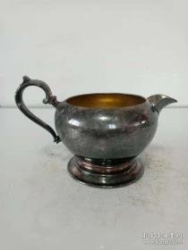 老式铜鎏银壶·酒壶·高足奶罐·老式精美摆件·稀少老物件【包老】重量237克.