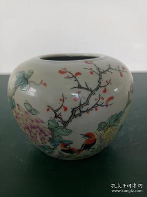 瓷器罐·粉彩花鸟图盖罐·同治年落款