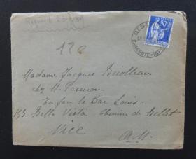 """1939年9月23日法国(桑特寄尼斯)实寄封贴早期""""90分""""qy88.vip千亿国际官网1枚(50)"""