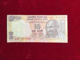 全新印度纸币印度共和国10卢比1996年版签名版甘地头像,44P2JJ539