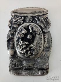 精美浮雕龙凤呈祥图·纯铜砚台·文房用品·摆件