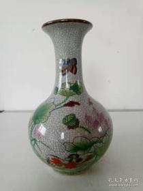 哥窑粉彩开片荷花赏瓶·瓷器瓶·鸳鸯戏荷图·瓷花瓶·乾隆年落款·家居摆件·赏瓶