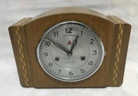 八十年代上海三五机械座钟木壳15天台钟正常走时怀旧收藏