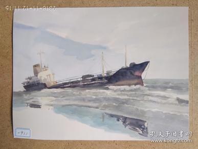 水粉画参赛作品签名照片《远航》作者:谢筱溦 (毕业于中央美术学院 硕士学位)