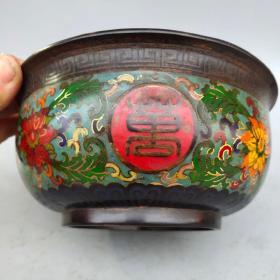 景泰蓝《万寿无疆》碗摆件尺寸如图,重1280克