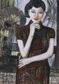 """著名油畫家 俞果 2018年水粉畫作品""""旗袍姑娘""""一幅(尺寸:76*53cm;作品由《中國美術市場報》直接得自于藝術家本人)HXTX111478"""