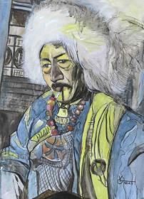 """著名油畫家 俞果 2018年水粉畫作品""""藏民""""一幅(尺寸:76*53cm;作品由《中國美術市場報》直接得自于藝術家本人)HXTX111479"""