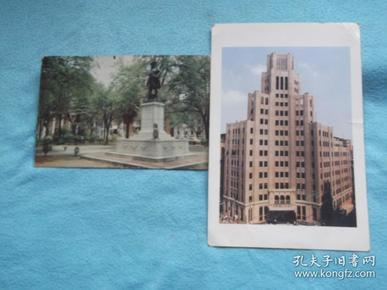 老的 英国 英文 明信片 GENERAL OGLETHORPE MONUMENT(奥格索普将军纪念碑  13.5*8.5);还有一张上海江西中路180号,明信片。