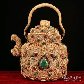 藏区回收掐丝藏银鎏金茶壶 西藏纯手工打造镶嵌宝石掐丝藏银鎏金茶壶 重903克 高23厘米 宽16厘米 品如图一眼货