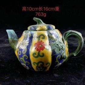 """明代""""掐丝 景泰蓝执壶,纯手工精致打造,包浆厚重,老化明显,磨损自然,工艺精美,品相完整,成色如图"""