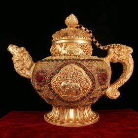 藏区回收掐丝藏银鎏金龙凤象茶壶 西藏纯手工打造镶嵌宝石掐丝藏银鎏金龙凤呈祥茶壶 重2828克 高26厘米 长31厘米 品如图一眼货