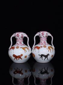 清乾隆珐琅彩十犬纹如意耳瓶,23×18,