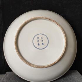 清代青花凤纹赏盘,画工精美,磨损自然,保存完整
