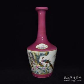 清雍正胭脂红粉彩花鸟纹长颈瓶,36×16,