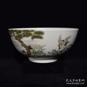 清雍正粉彩松鹤纹碗,8.5×18.2,