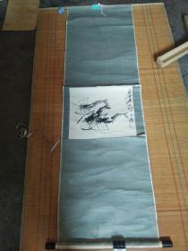 齐白石水墨画轴虾