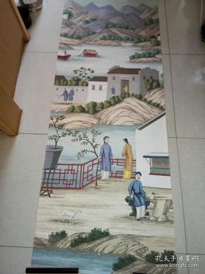 90年代初某名家给外商定制绘画特大水粉画重彩《中国古代民间山水人物风俗图》可能是壁画,20--30个平尺左右。9品(画工特别精美,功力很好)有英文文字标签。