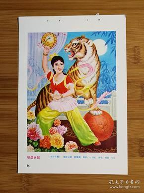 ●怀旧收藏老年画:《驯虎女郎》胡立义画【1986年福建人美版32开年画缩样】!