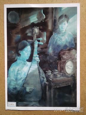 水粉画参展作品签名照片 《忆江南 蓝调》作者;李晓龙