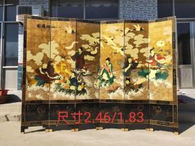 创汇时期 扬州漆器双面工屏风一套【八仙过海】 整体保存完好 画面构图清晰