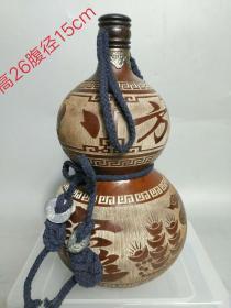 八方进宝酒葫芦一个,品相如图,雕刻精细,保存完好。