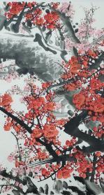 当代河南书画家 王守东题红梅横幅 《铁骨生春》 179*68 2680.图片