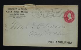 """1909年12月1日美国(费城互寄)""""2分邮资""""实寄封 74"""