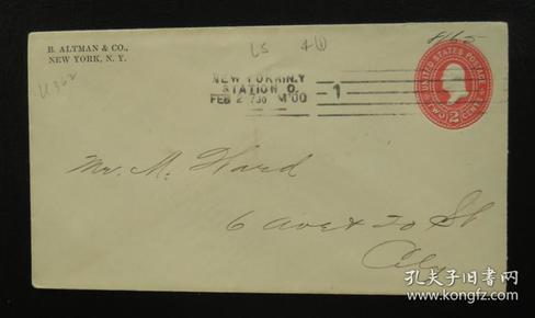 """1900年2月2日美国(纽约互寄)""""2分邮资""""实寄封 75"""