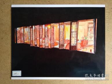 水粉画参赛作品签名照片《古镇之夜》作者:虞文发