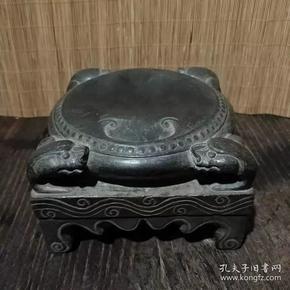 北伐时期 黑青石四兽鼓砚台 尺寸15*9.5厘米