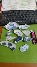 青花瓷片标本10块合售